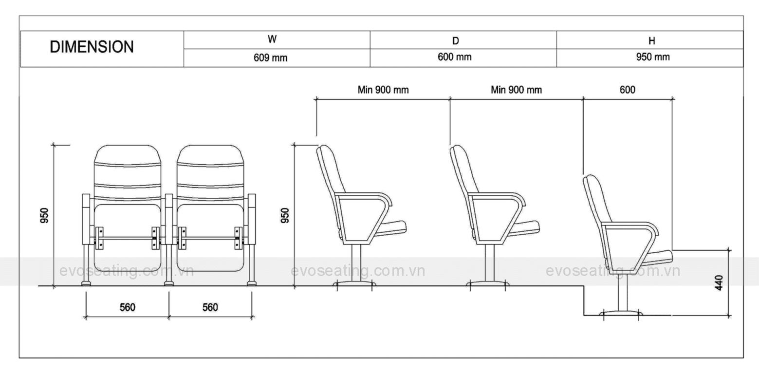 Thông số kỹ thuật của ghế hội trường EVO1101