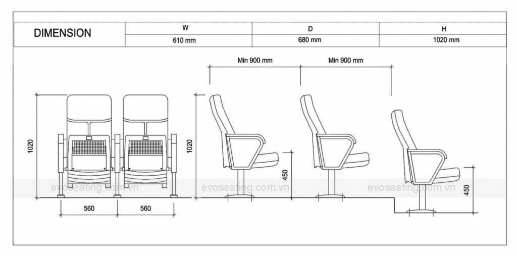 Thông số kỹ thuật của ghế hội trường EVO1201