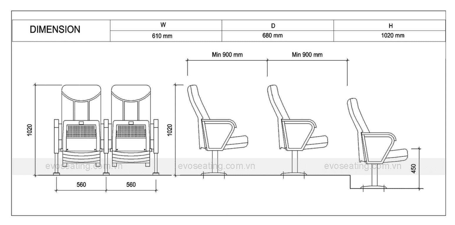 Thông số kỹ thuật của ghế hội trường EVO1202