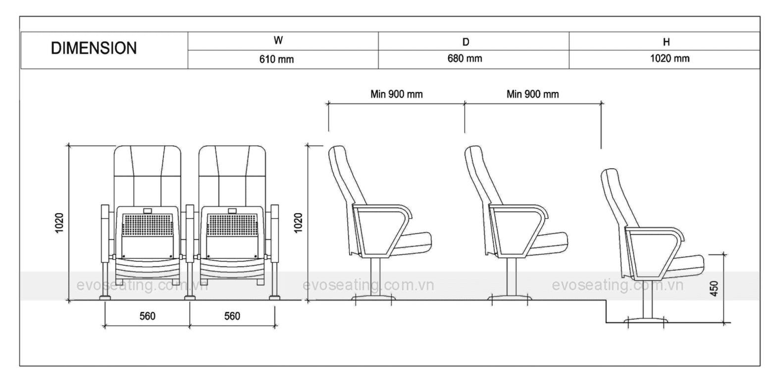 Thông số kỹ thuật của ghế hội trường EVO1204