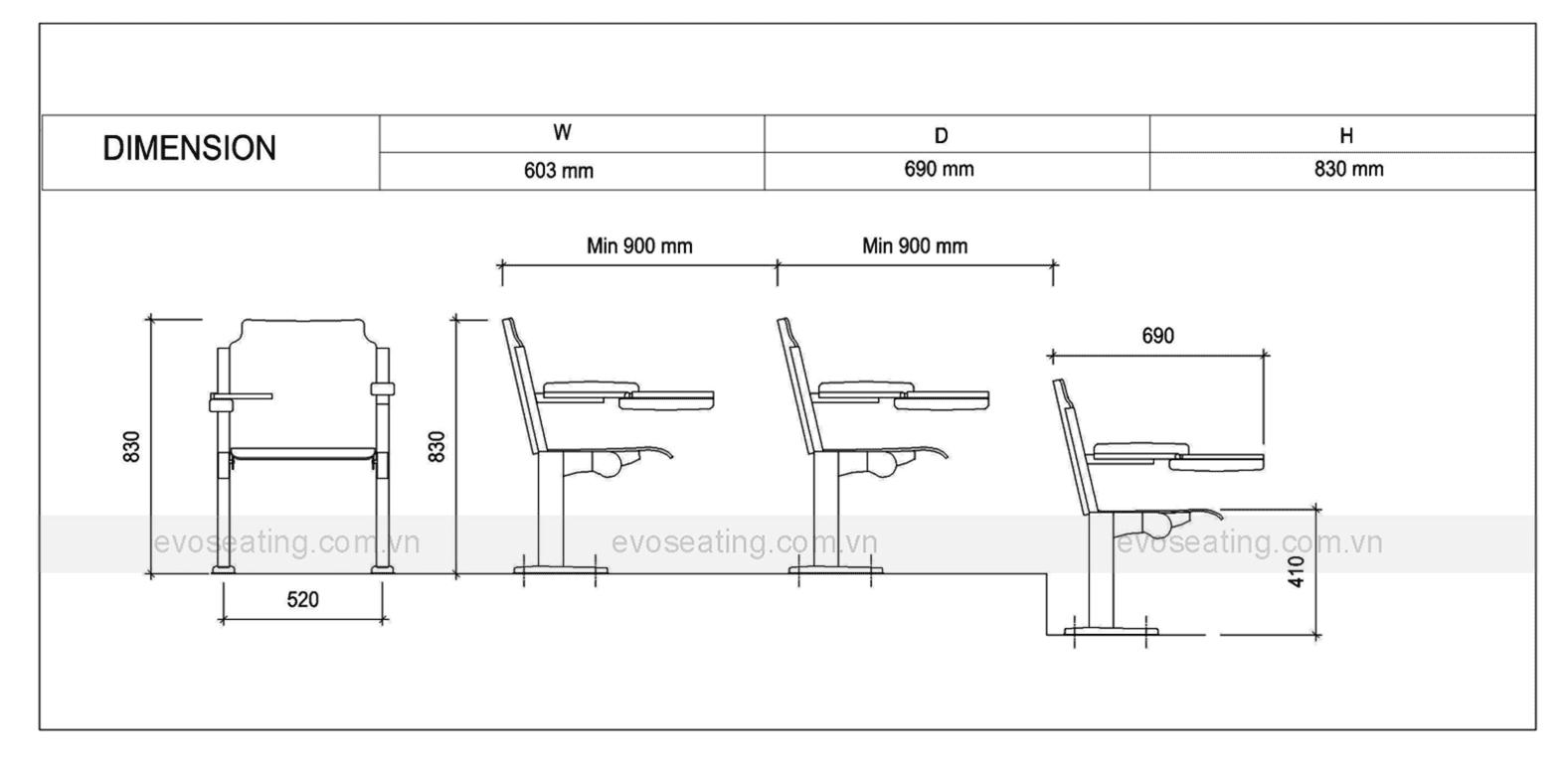 Thông số kỹ thuật của ghế hội trường EVO2201