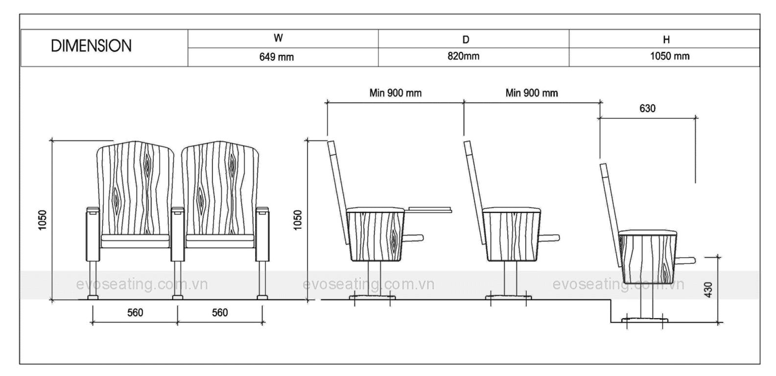 Thông số kỹ thuật của ghế hội trường EVO2203