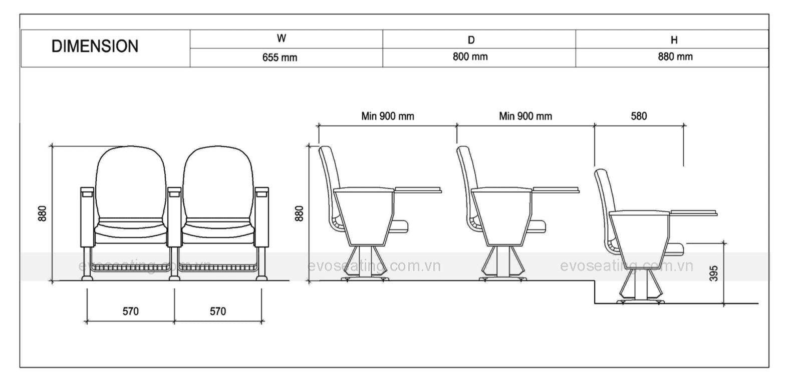 Thông số kỹ thuật của ghế hội trường EVO3301