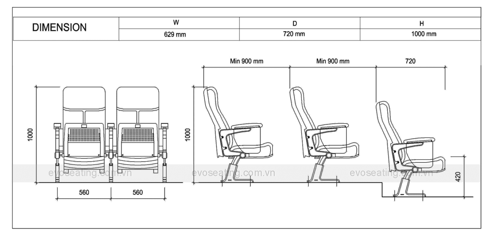Thông số kỹ thuật của ghế hội trường EVO4601