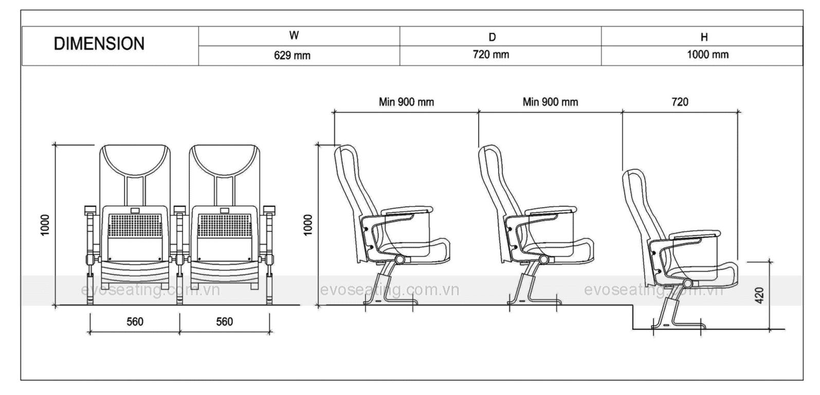 Thông số kỹ thuật của ghế hội trường EVO4602