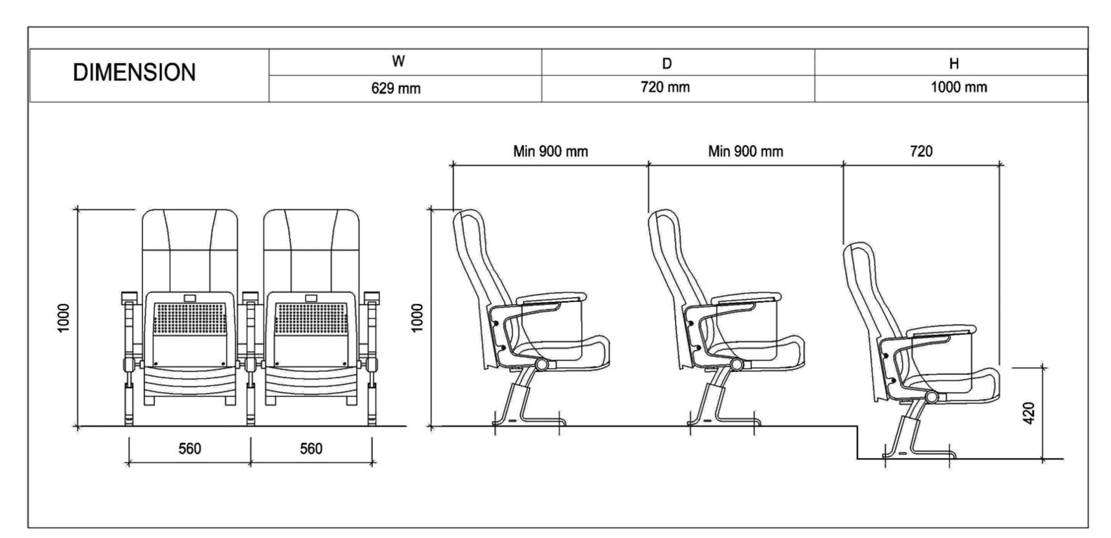 Thông số kỹ thuật của ghế hội trường EVO4604