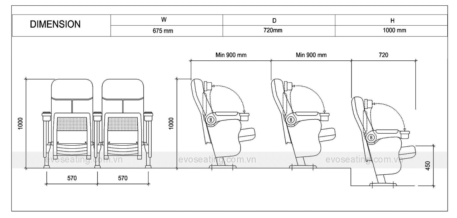 Thông số kỹ thuật của ghế rạp chiếu phim EVO5601
