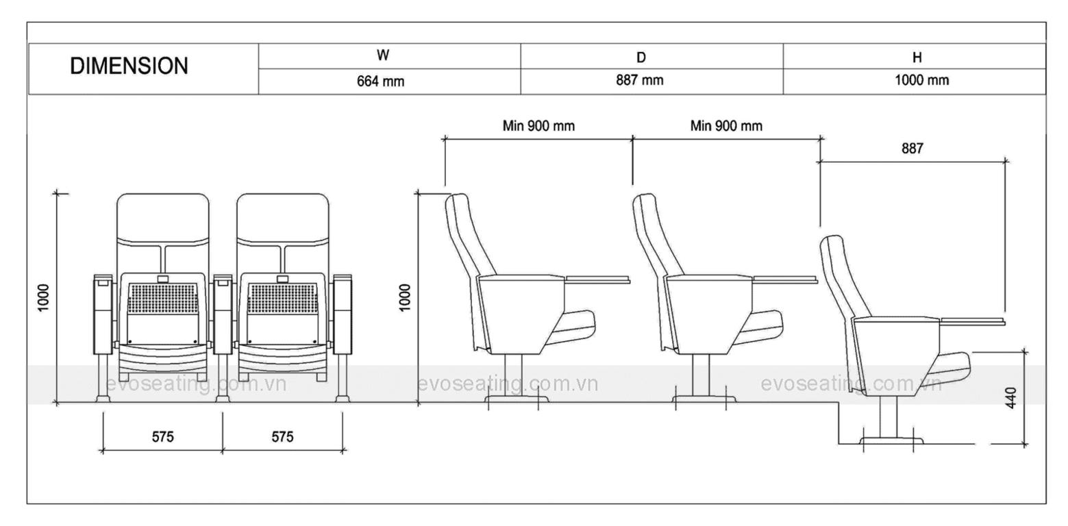 Thông số kỹ thuật của ghế hội trường EVO6601