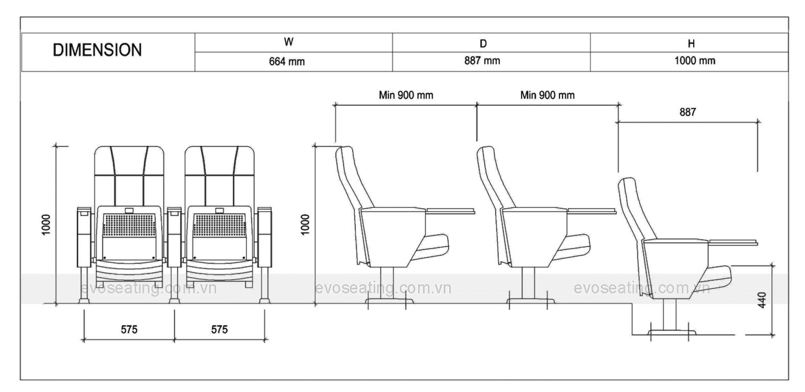Thông số kỹ thuật của ghế hội trường EVO6604