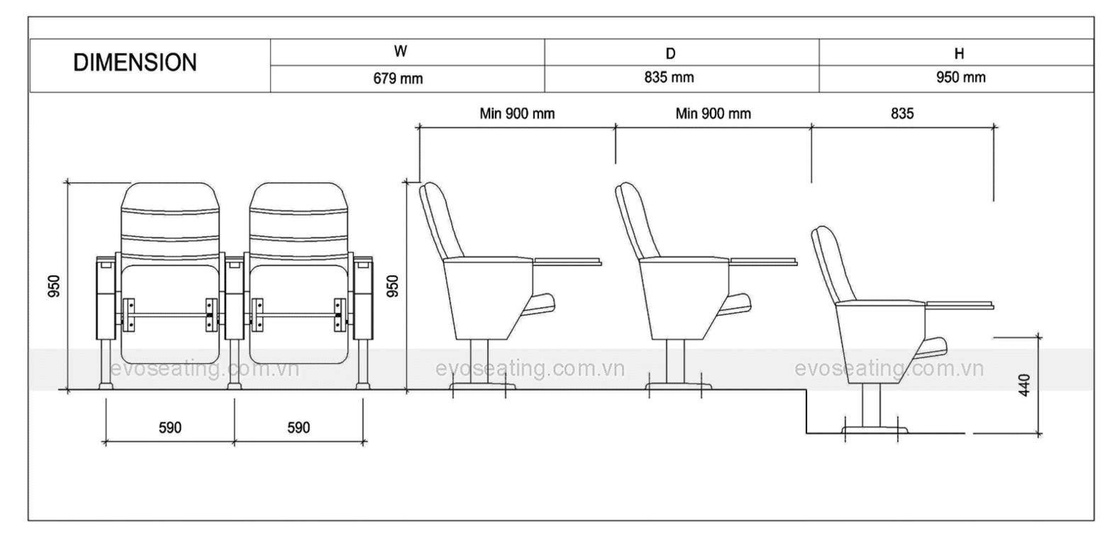 Thông số kỹ thuật của ghế hội trường EVO6611B