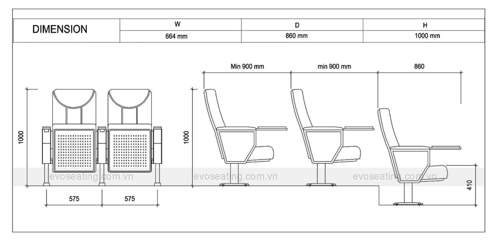 Thông số kỹ thuật của ghế hội trường EVO7602