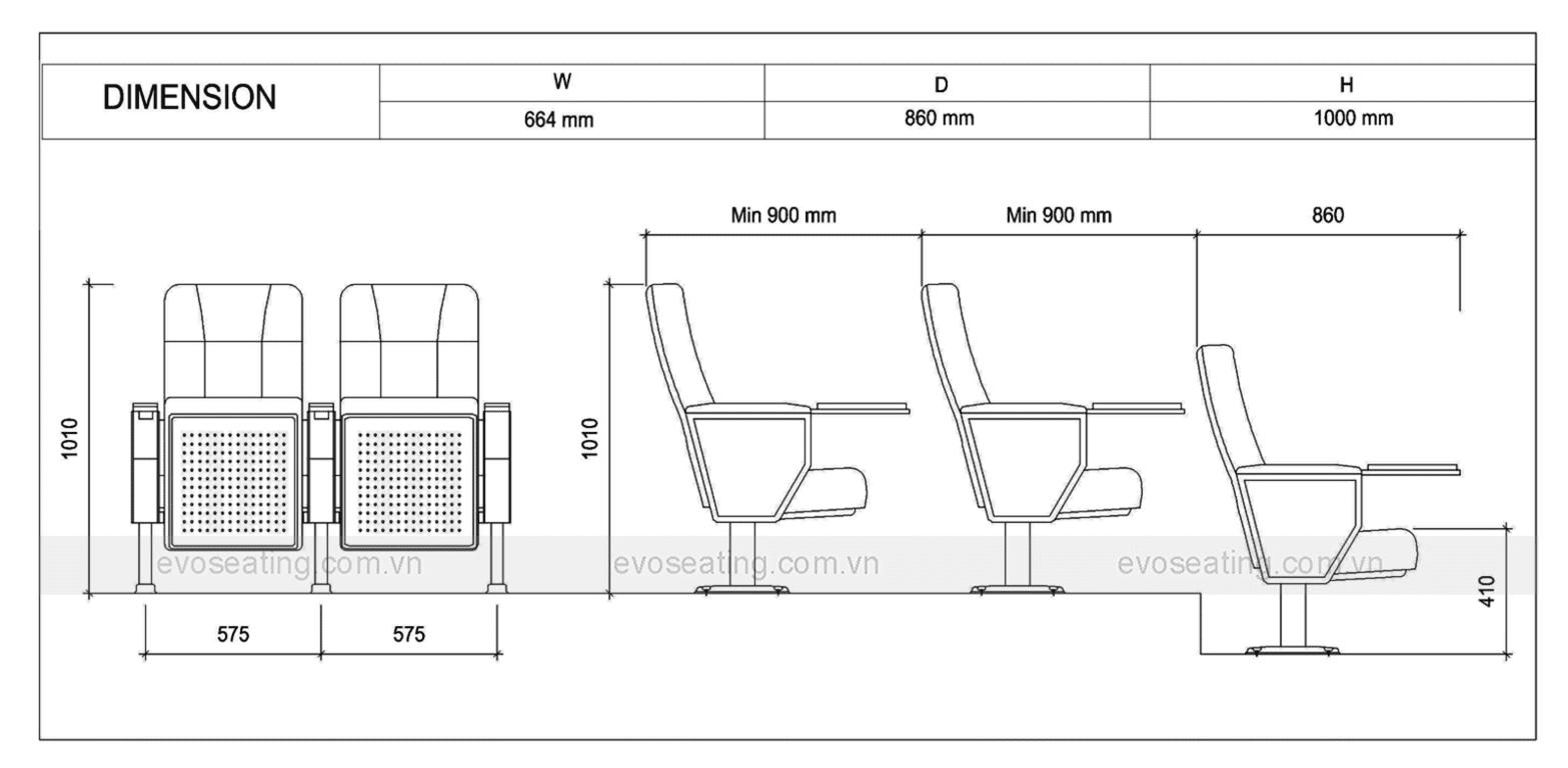 Thông số kỹ thuật của ghế hội trường EVO7604