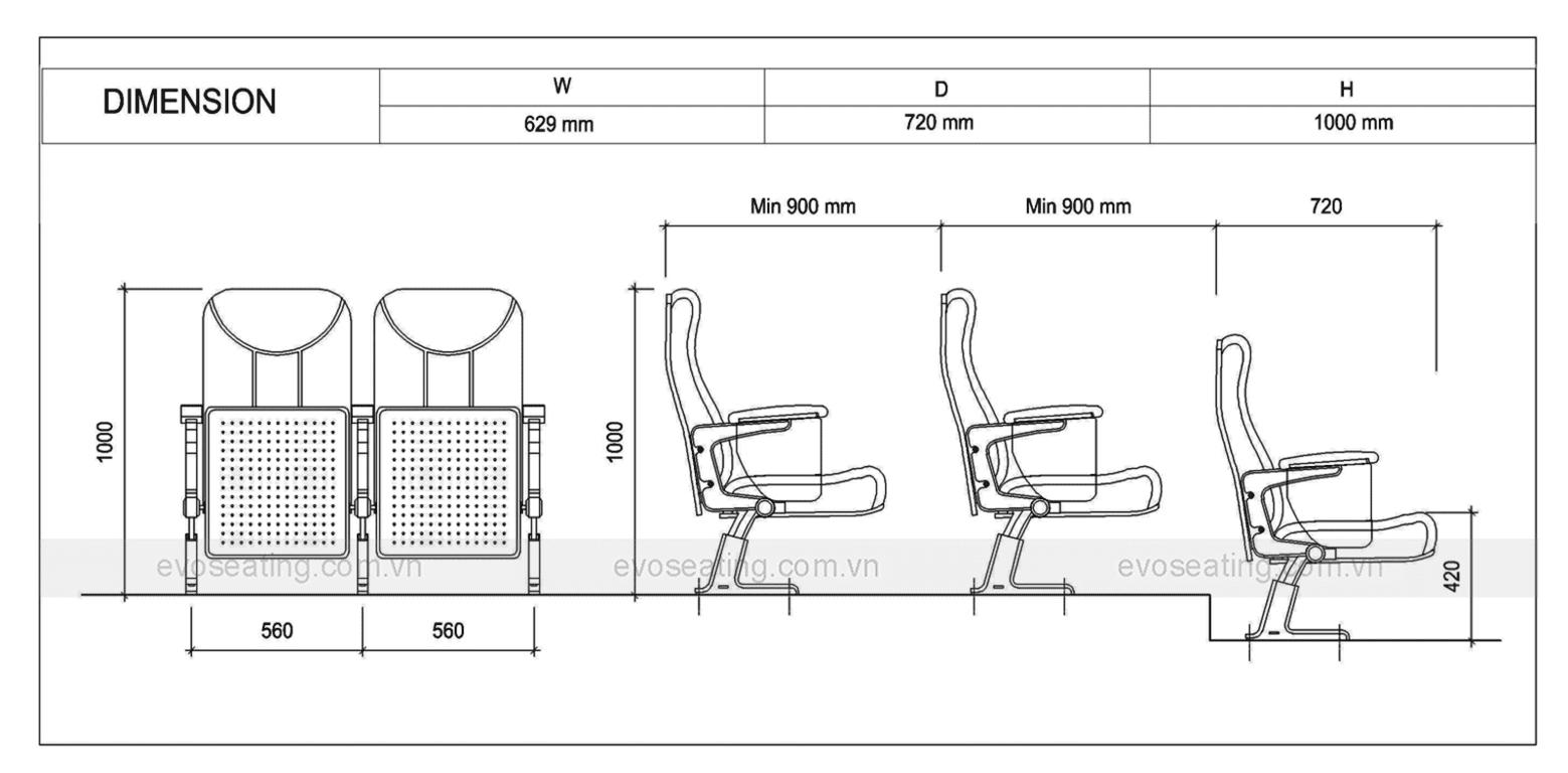 Thông số kỹ thuật của ghế hội trường EVO8602